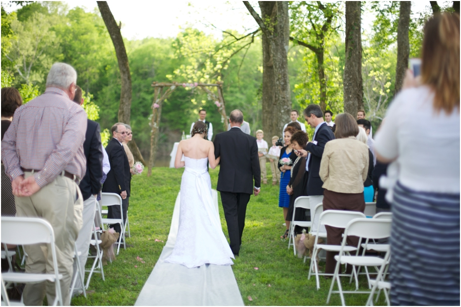 bride walking up the aisle, forest wedding photography, rustic wedding photographers