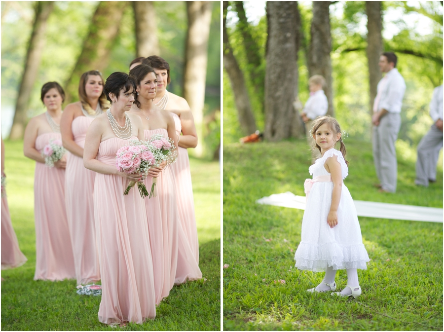 bridesmaids portraits, flowergirl at outdoor wedding, southern wedding photographers
