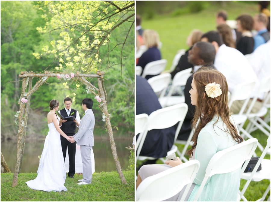 romantic spring wedding photography, guests at outdoor spring wedding