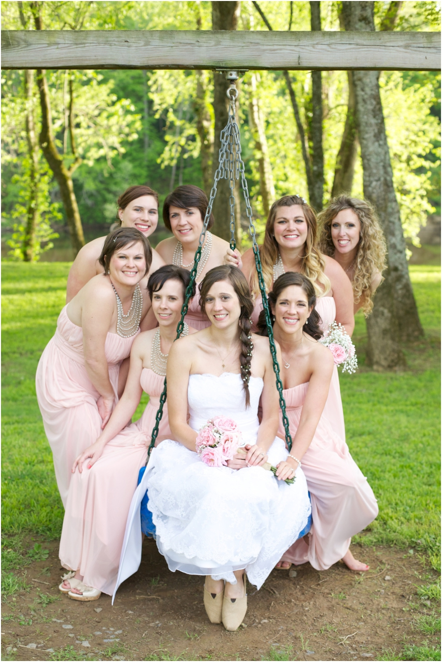 bridal party portraits, southern spring wedding photographers