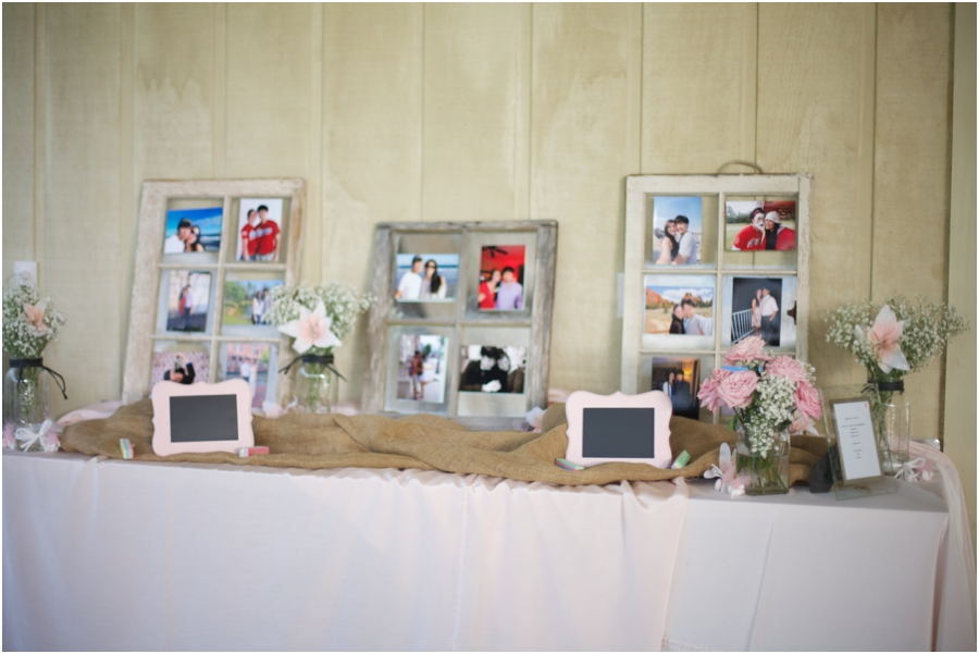 rustic wedding reception inspiration, old windows with pictures of the bride and groom