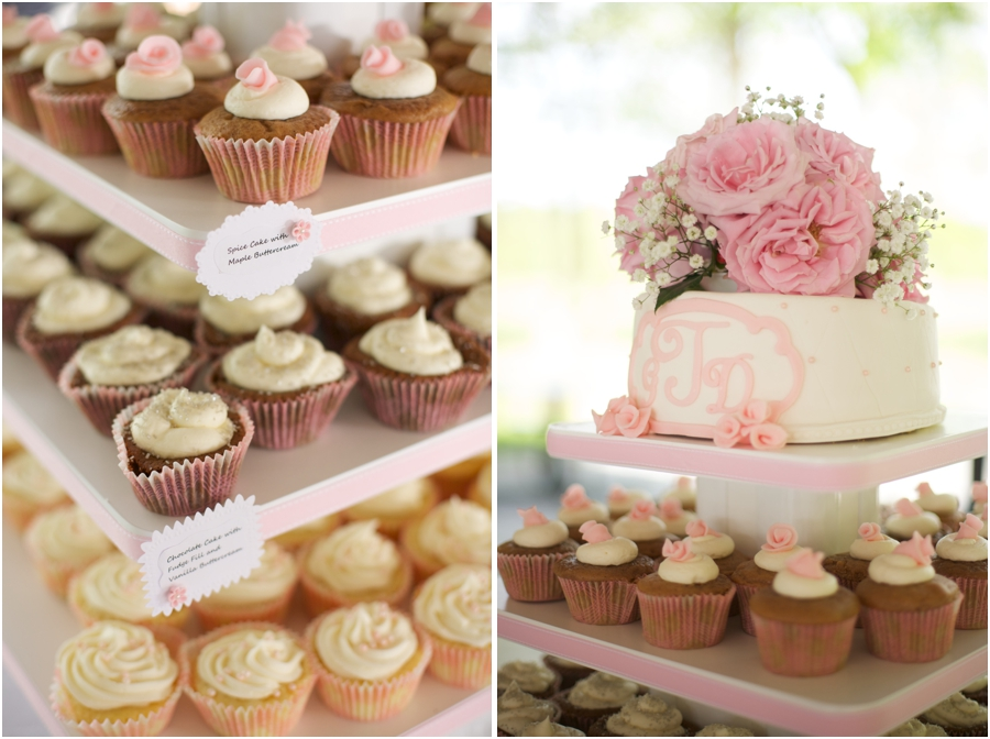 cupcakes and wedding cake, wedding color schemes, blush pink and cream wedding cake and cupcakes