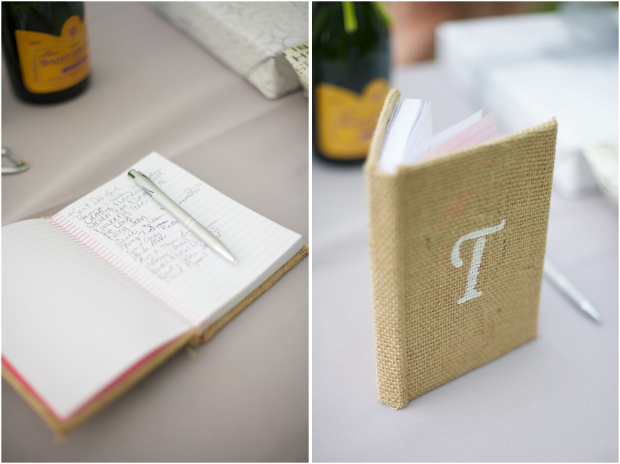 cute rustic guestbook ideas, burlap covered notebook with couple's last initial
