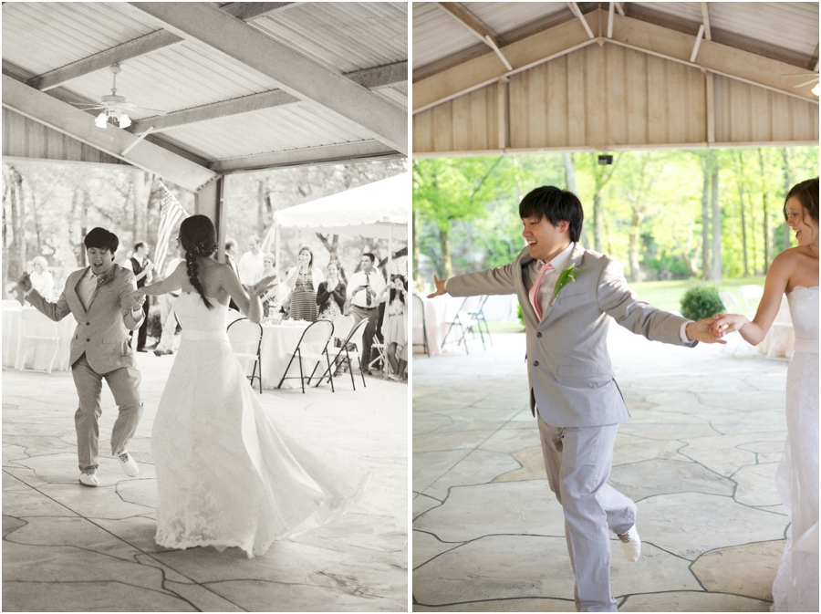 bride and groom dancing at wedding reception, romantic southern wedding photography