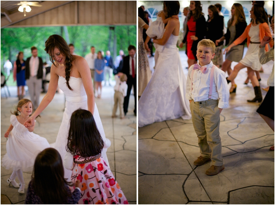 bride dancing with flowergirl, ring bearer at wedding reception, southern wedding photographers