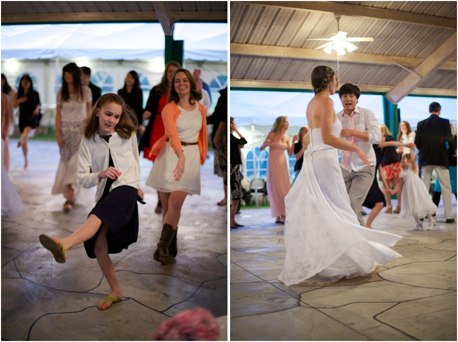 guests dancing at wedding reception, bride and groom reception photography