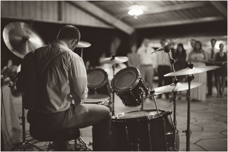 drummer at wedding reception, vintage raleigh nc wedding photographers