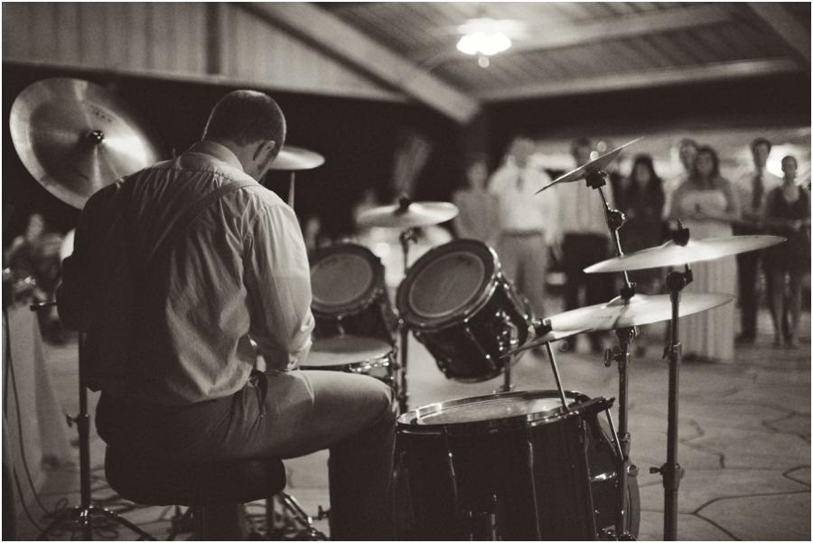 drummer at wedding reception, vintage raleigh nc wedding photographers