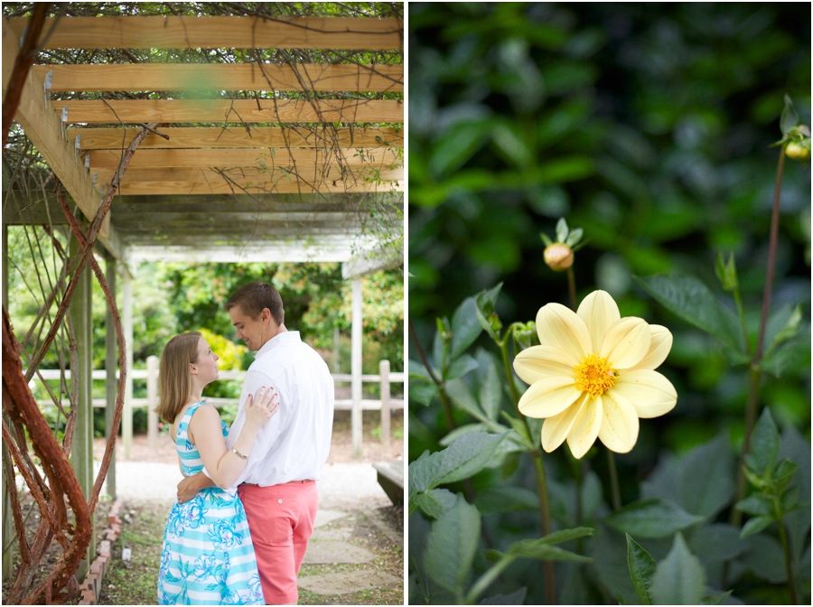 garden engagement photography, pretty yellow flowers