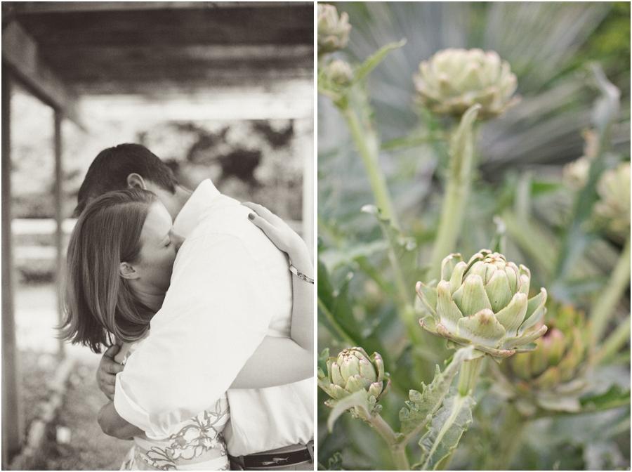 intimate vintage engagement photography, artichoke plants