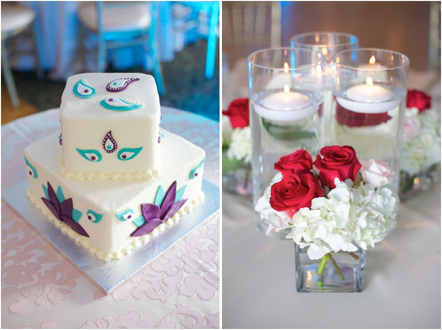 cream, blue, and purple wedding cake from Bake My Day, elegant table centerpieces, southern wedding photographers