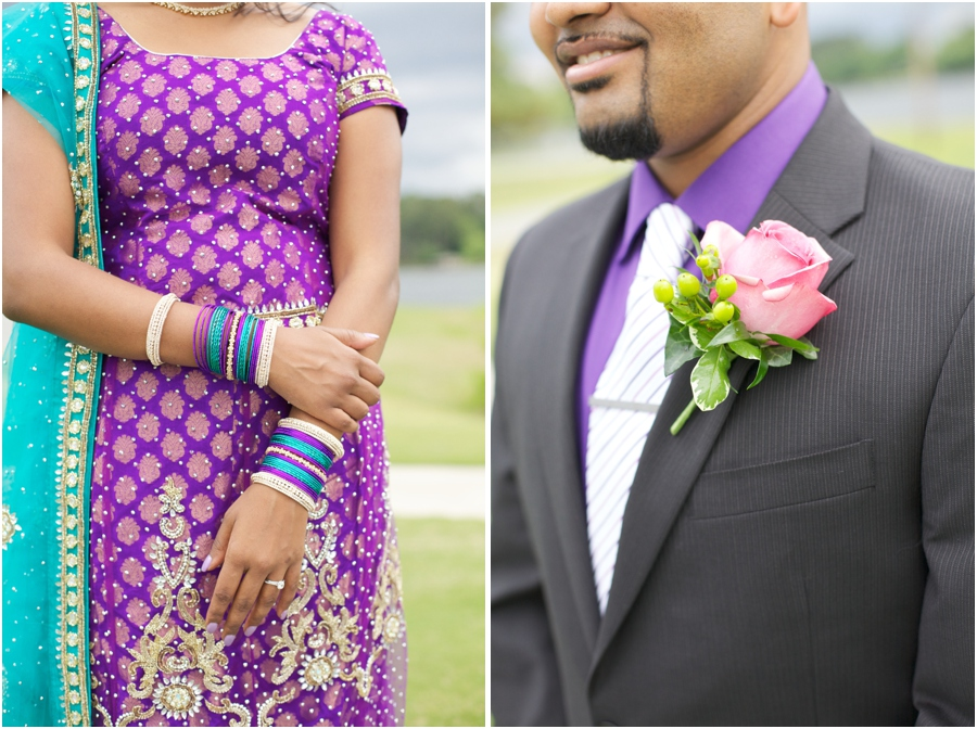 indian bride wearing teal and purple, groom with fresh pink rose boutonniere, southern wedding photographers