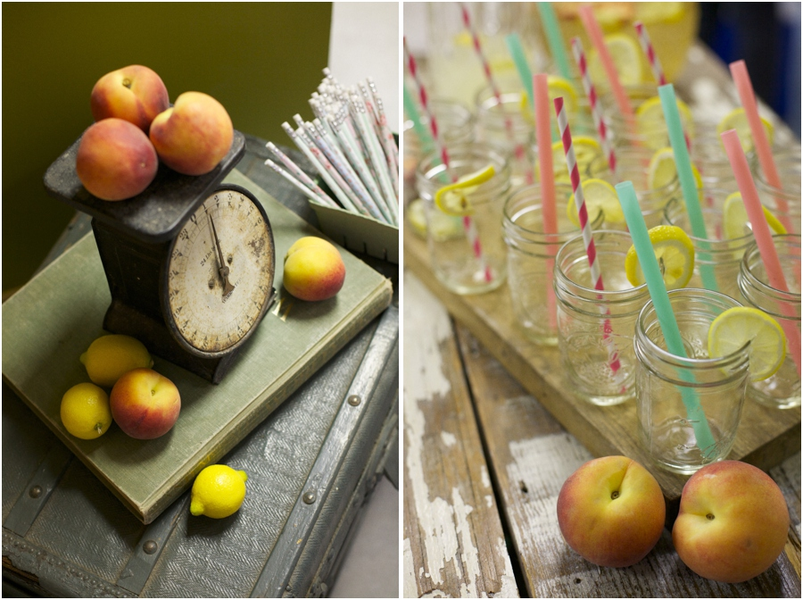vintage scale at Simply Put Vintage warehouse party, lemonade served with lemon slices and paper straws in small mason jars, vintage antique rentals, vintage wedding photographers