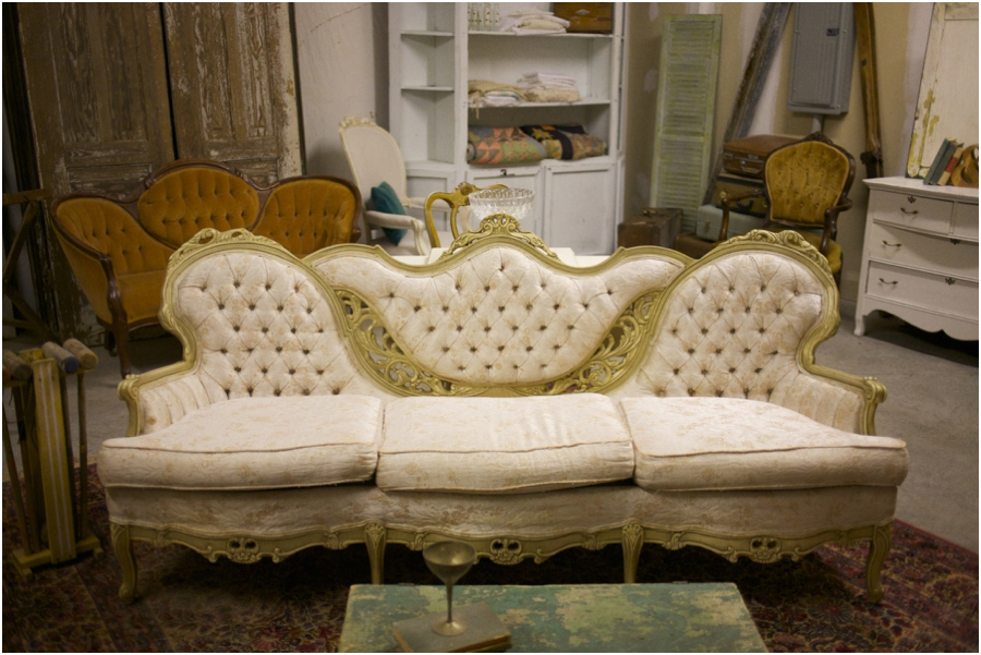 beautiful vintage couch, simply put vintage rentals, vintage wedding photographers