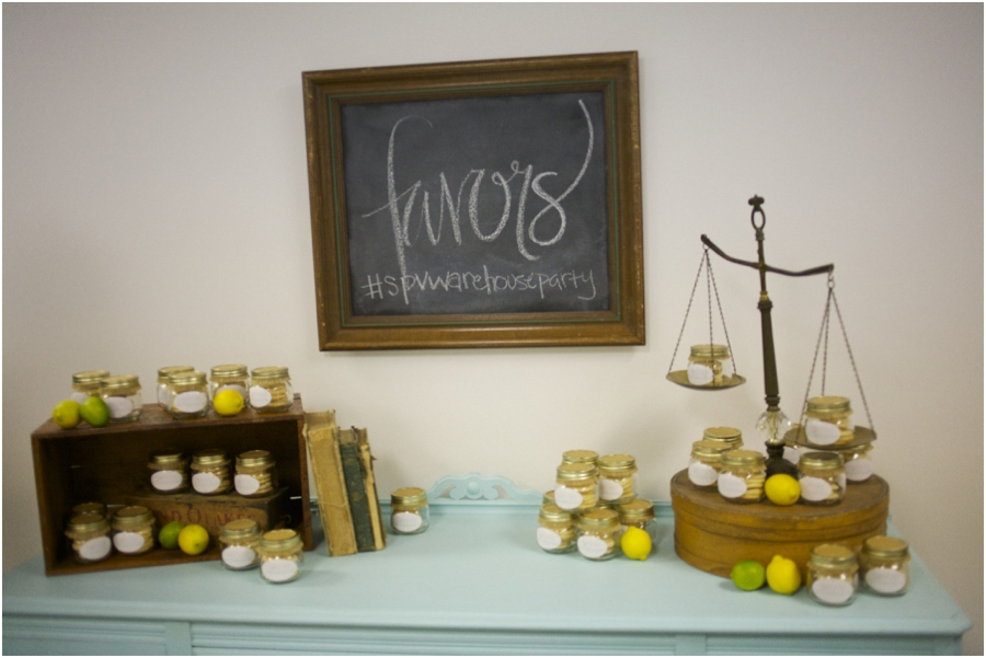favors at simply put vintage warehouse party, raleigh nc vintage rentals