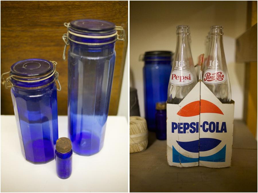 vintage blue glass jars, vintage glass pepsi-cola bottles, vintage wedding photography