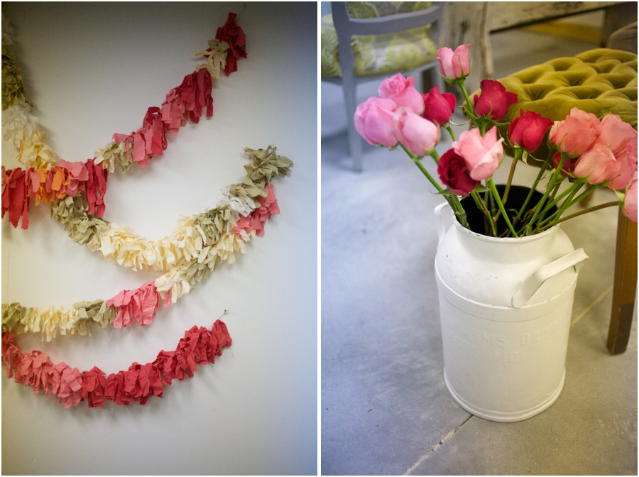 colorful bunting decorations, pink and red roses in vintage milk bucket, vintage wedding photographers