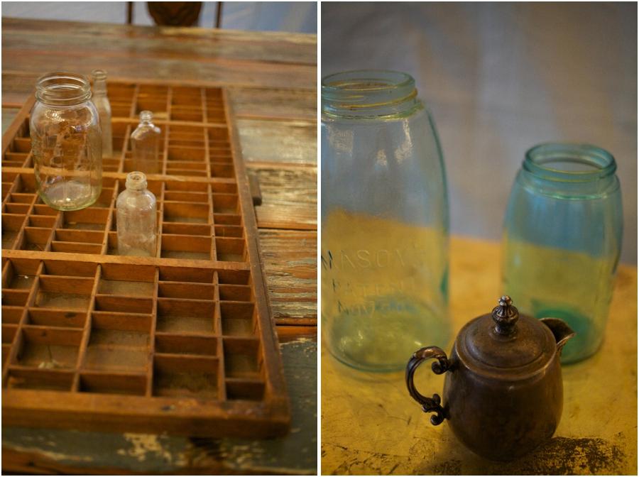 vintage wedding inspiration, vintage blue glass mason jars, raleigh nc vintage wedding photographers
