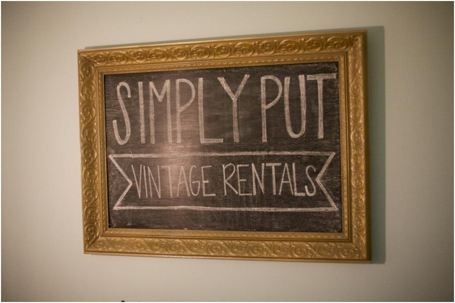 gold framed chalkboard, simply put vintage rentals