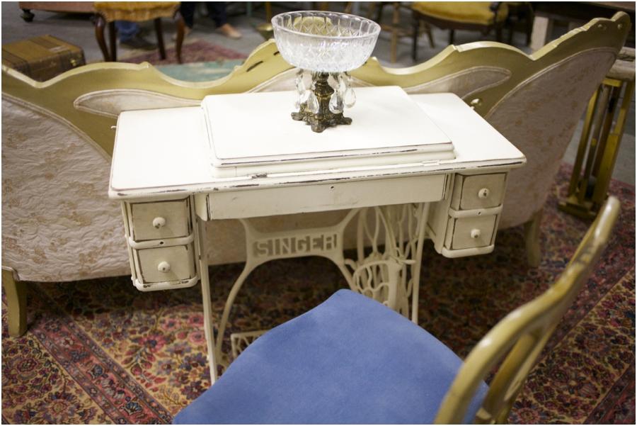 vintage singer table, vintage furniture rentals, vintage wedding photographers