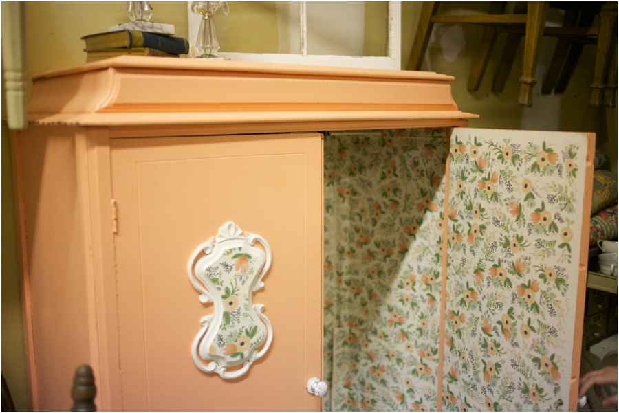 vintage furniture rentals, vintage peach wardrobe, simply put vintage rentals, vintage wedding photographers