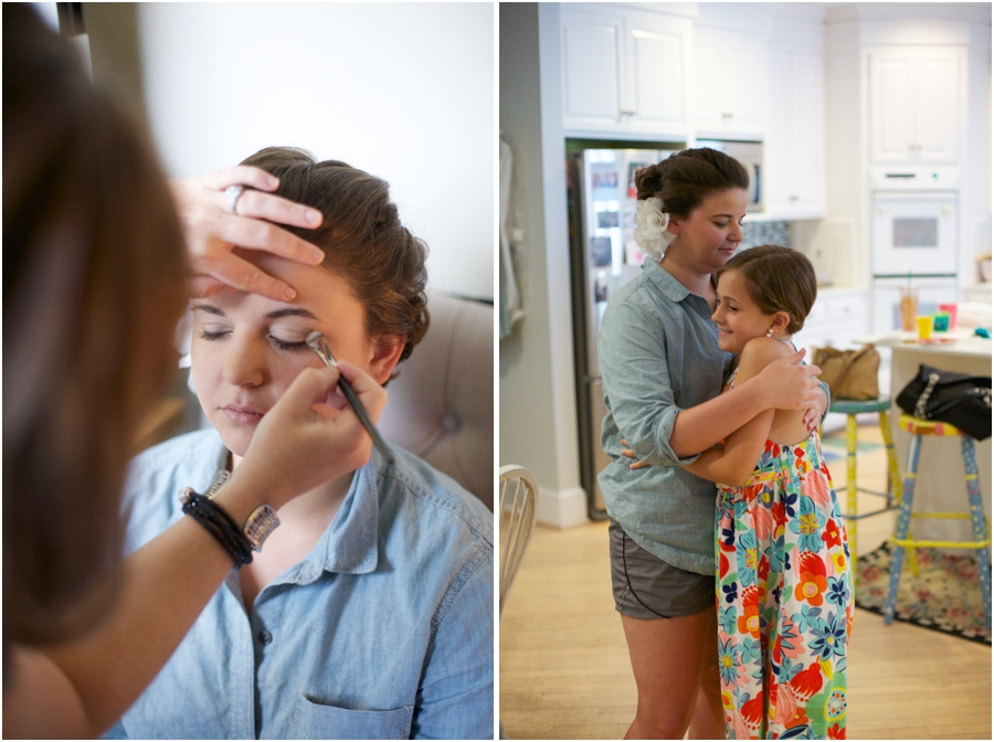 bridal makeup by Cheveux Salon, bride getting ready, southern wedding photographers