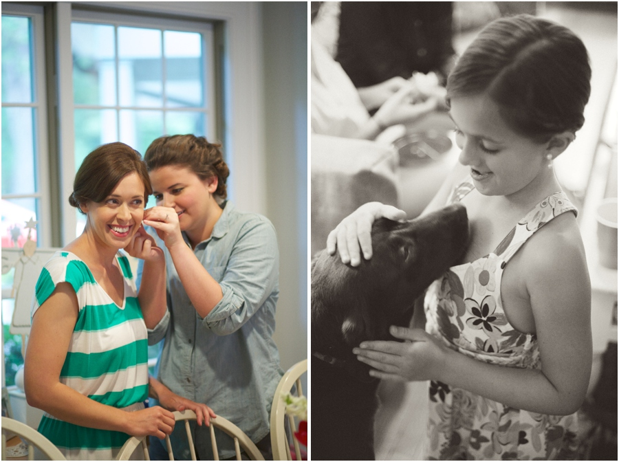 bride getting ready, junior bridesmaid with family dog, vintage wedding photographers