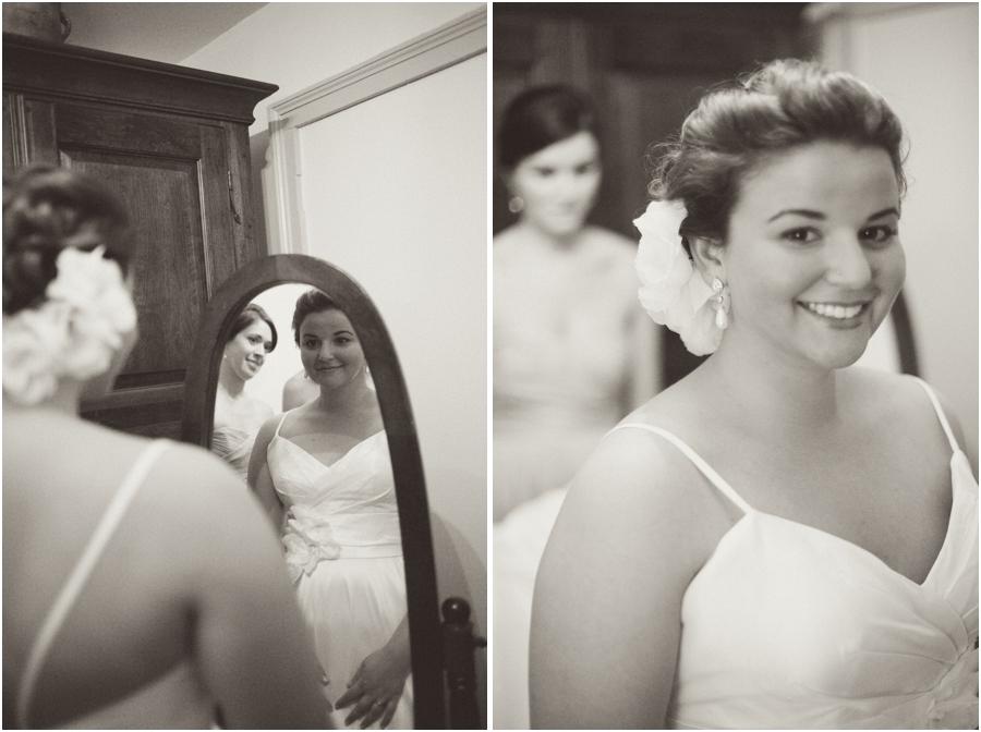 bride getting ready mirror, raleigh nc vintage wedding photographers