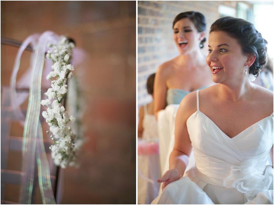 baby's breath and ribbon crown, winston salem nc wedding photography