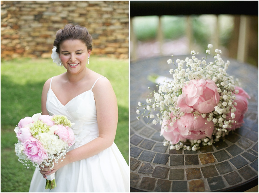southern bridal photography, pink and cream bridesmaid bouquet