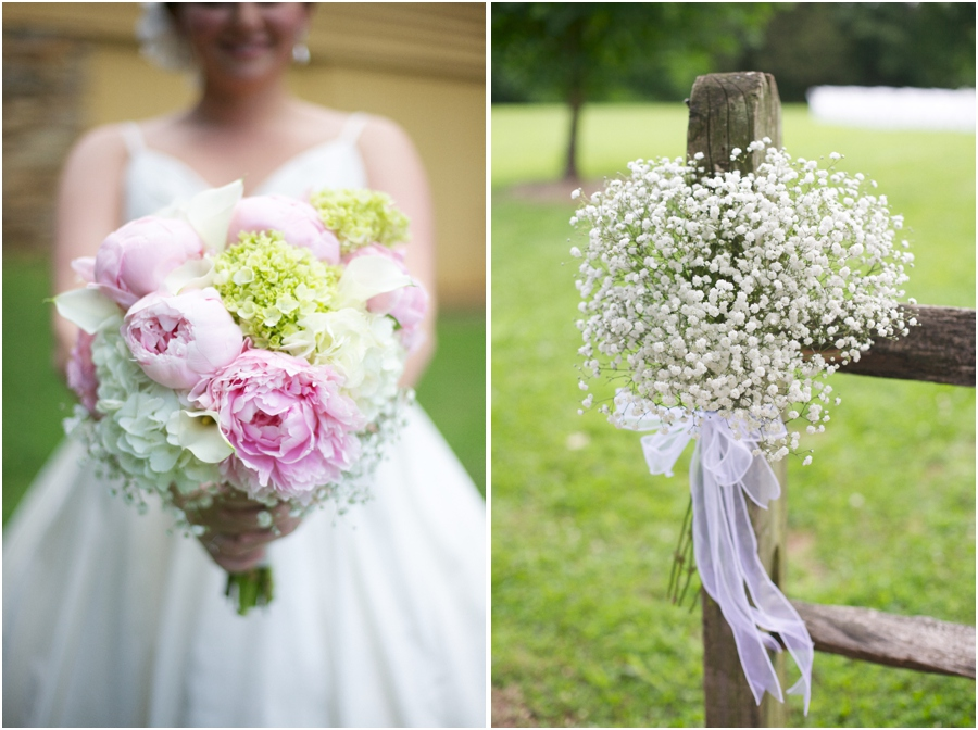 fresh bridal bouquet with peonies, hydrangea, calla lilies, and baby's breath, fresh baby's breath wedding decor, rustic wedding photography