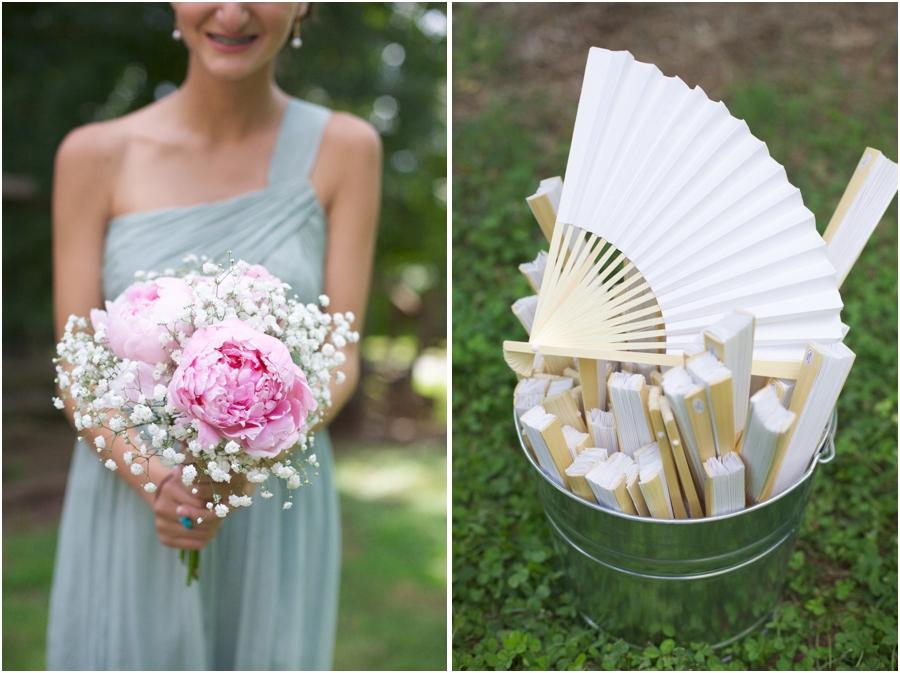 beautiful fresh bridesmaid bouquet by Imagine Flowers, paper fans as guest favors