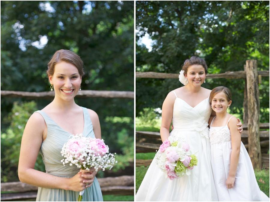 bridesmaid portraits, bride with junior bridesmaid, winston salem wedding photography