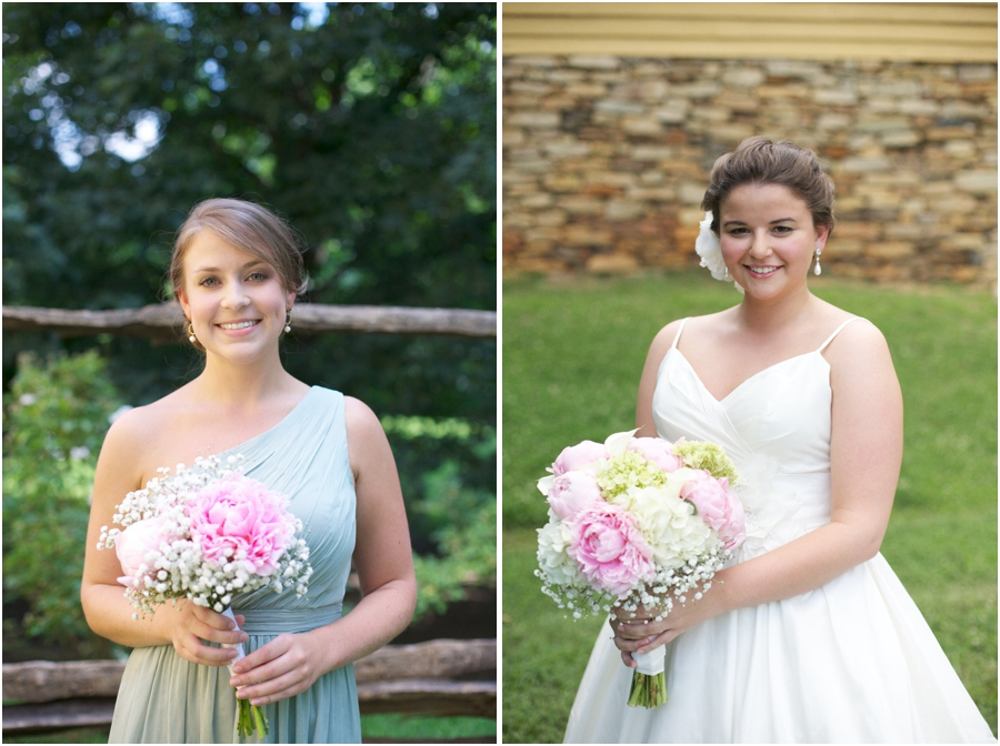 bridesmaid in light green one shoulder dress from J. Crew, wedding dress from Diva's Bridal Boutique
