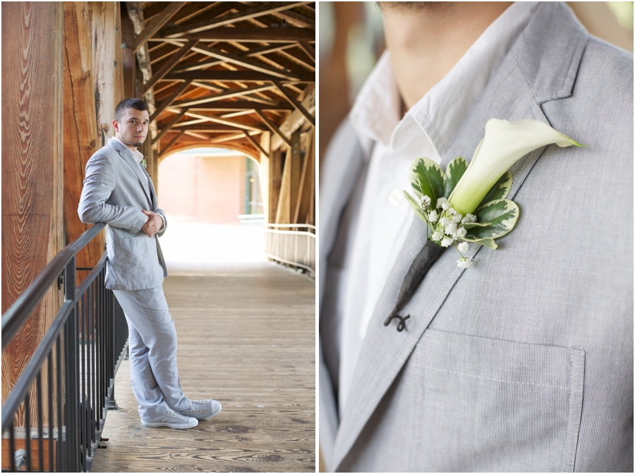 southern groom's portraits, unique boutonnieres, old salem wedding photography