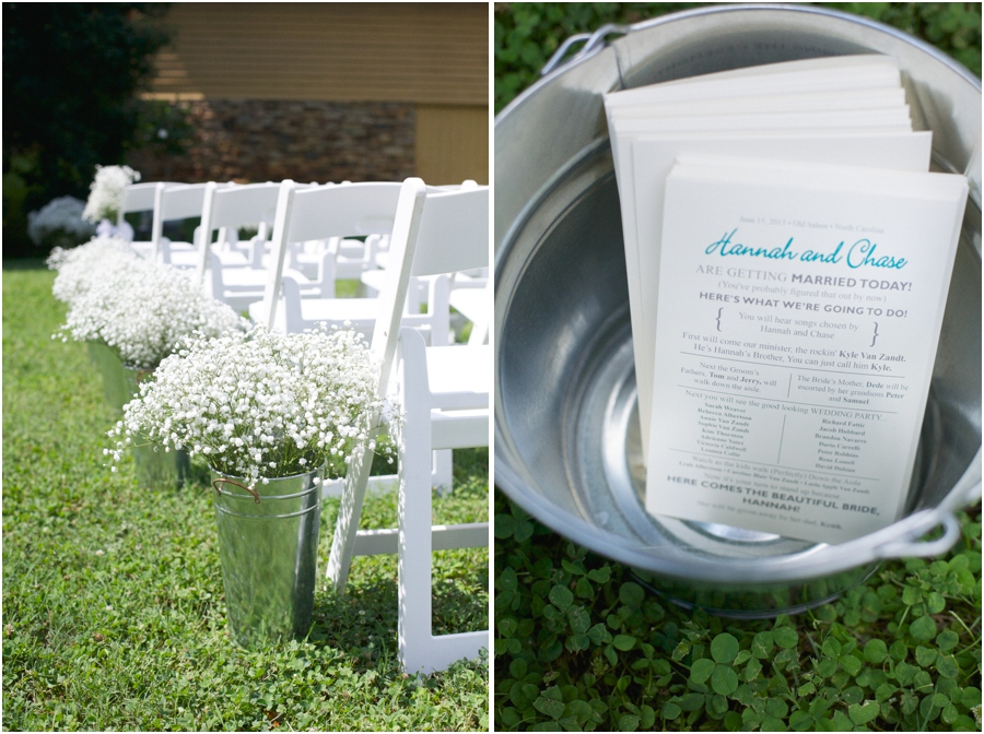 southern wedding inspiration, aisle lined with baby's breath in tin-pails, fun informal wedding programs