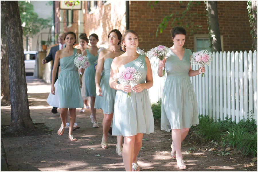 bridesmaids walking through old salem, southern wedding color schemes, light green and pink, southern wedding photographers