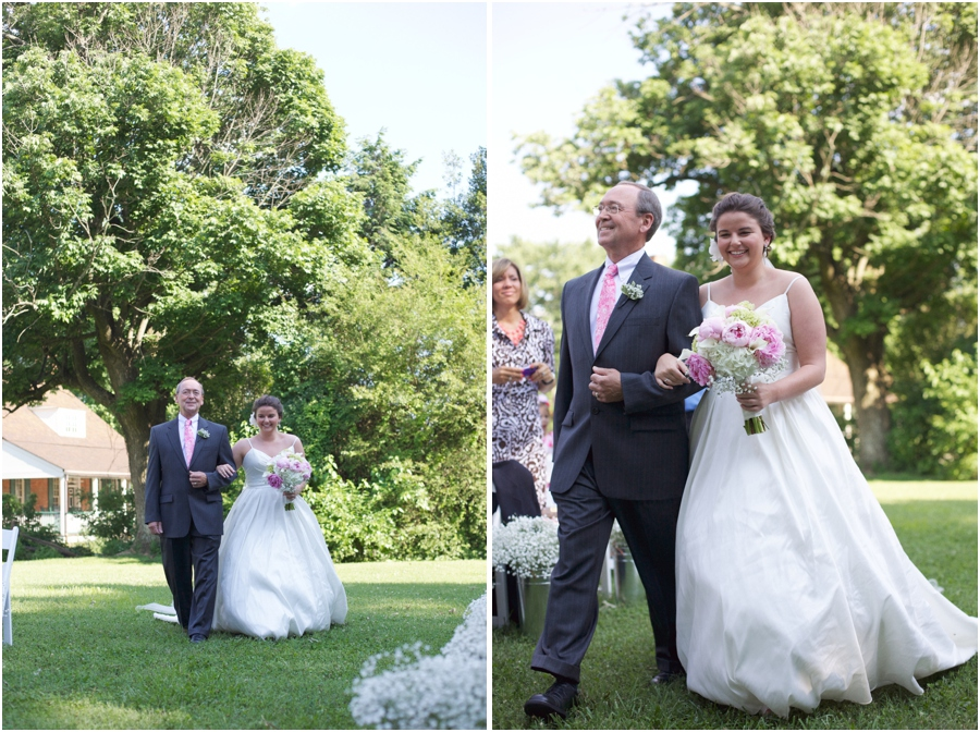 father walking bride down the aisle, old salem wedding photography