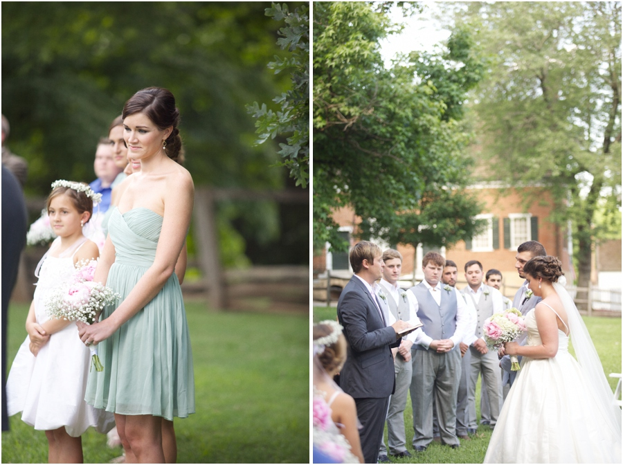 bridesmaid at wedding ceremony, southern weddings, old salem wedding photography