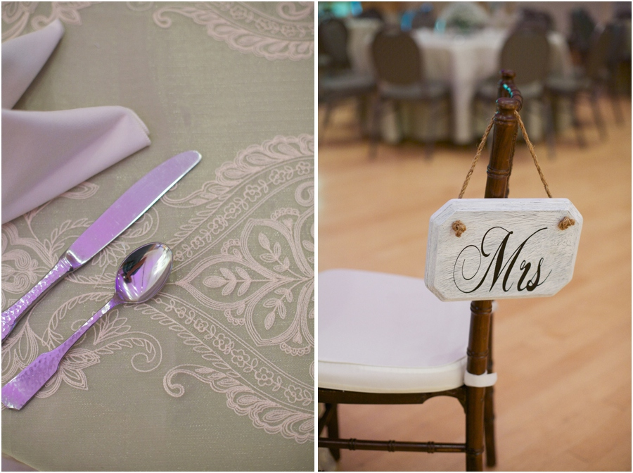 silverware on intricate tablecloth, rustic mrs. sign, southern wedding photographers