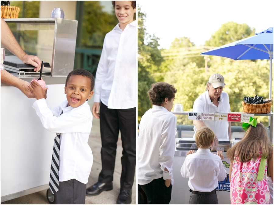 young boy getting ice cream from Blue Ridge Ice Cream stand at wedding reception, old salem wedding photography