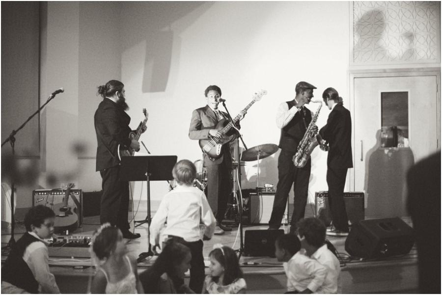Fruit Smoothie Trio Band playing at old salem wedding reception, vintage wedding photographers