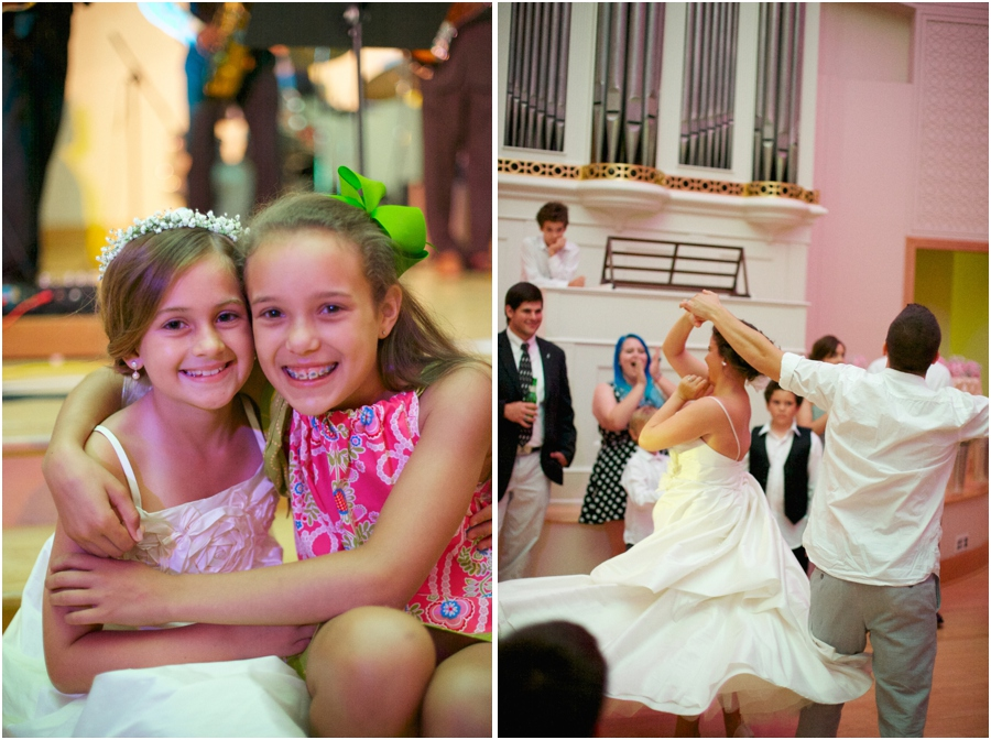 flower girl with at friend at wedding reception, fun wedding reception photography