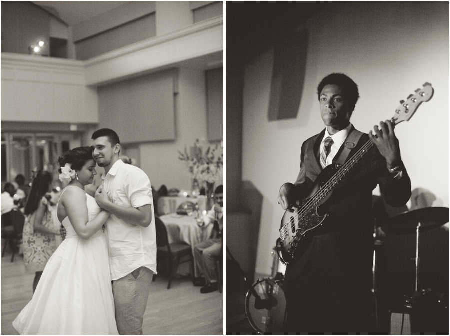 bride and groom dancing, romantic wedding reception photography, guitarist from Fruit Smoothie Trio Band