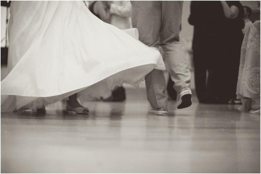 bride twirling on the dance floor, romantic old salem wedding photography
