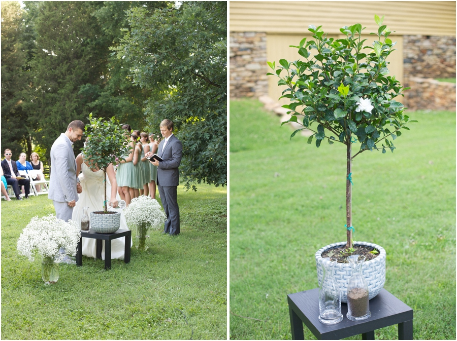 unique wedding traditions, bride and groom planting a gardenia plant together, southern wedding photographers