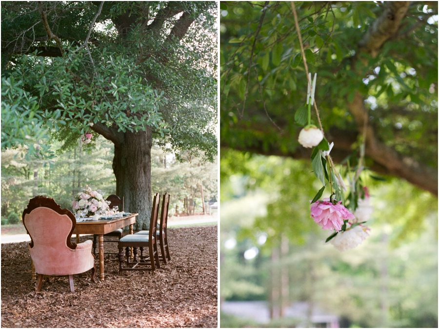 southern bridal luncheon, farmhouse-style table set beneath oak trees with a vintage pink velvet chair placed just for the bride, pink and blush peonies strung on a piece of twine with clothespins, southern wedding photographers