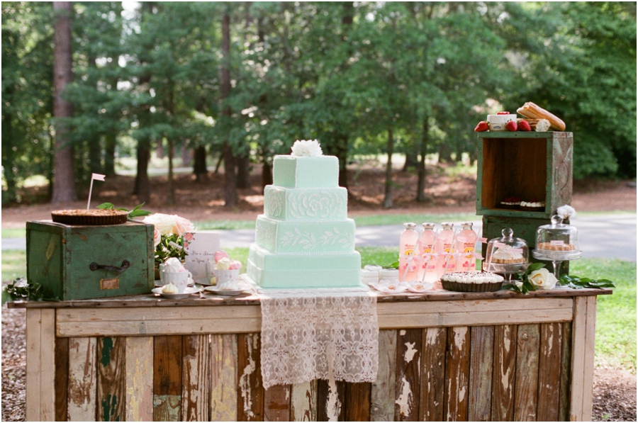 a gorgeous mint cake, plenty of pies, and many sweet treats, southern bridal luncheon inspiration