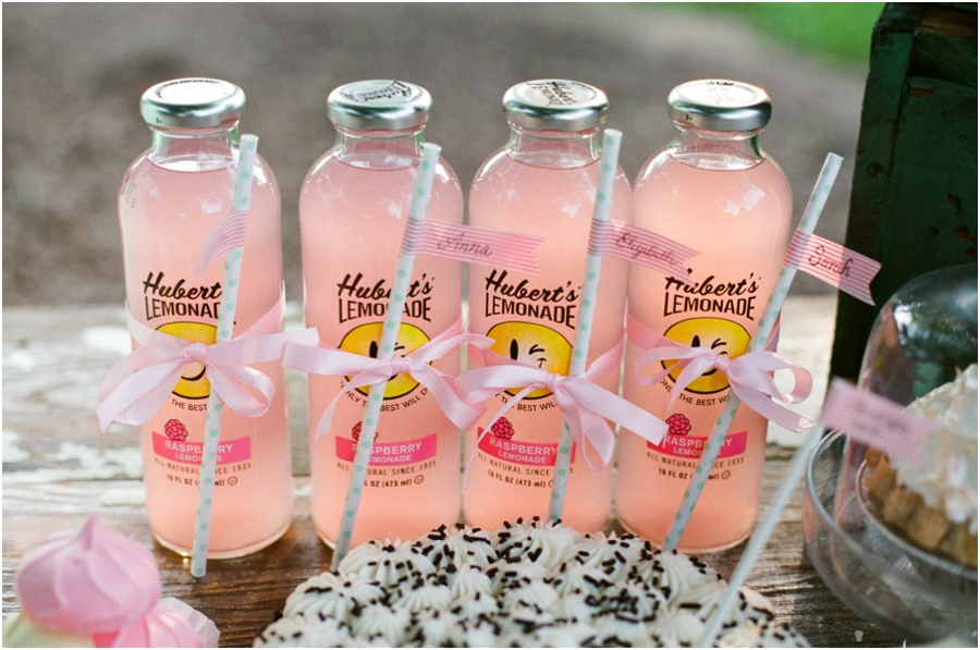 minty polka dot straws tied to each bottle of lemonade with ribbon and festooned with a personalized washi tape flag, summer bridal luncheon, southern bridal photographers