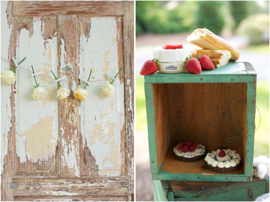 roses strung on twine with clothespins, easy southern bridal diy decor, yummy mini pies served at summer bridal luncheon